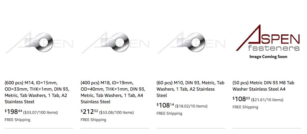 100 pcs M36 Tab Washers 1 Tab ID=37mm A2 Stainless Steel THK=1.6mm OD=75mm Metric DIN 93